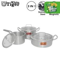 WHITE TIGER 555 Wajan & Panci Set 3 Buah Stainless Steel Suite Pot ROS