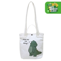 Naughty Accessories Tas Selempang Bahan Kanvas Dino - BBG201201092 - WHITE