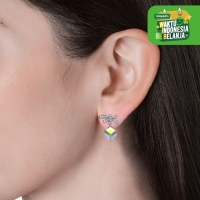 Posie Cube Earrings - Anting Crystal by Her Jewellery - White Gold