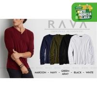 Baju Kaos Polos Henley Kancing Lengan Panjang RAVA (TERBAIK TOKOPEDIA) - Putih