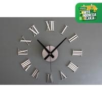 Jam Dinding Besar Raksasa Angka Romawi 3D Giant Wall Clock DIY Perak