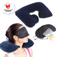 Bantal Leher Angin / travel pillow set 3 in 1 penutup mata telinga set