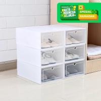 Kotak DIY Plastik Multifungsi Sepatu Pakaian Stackable Isi 3 pcs