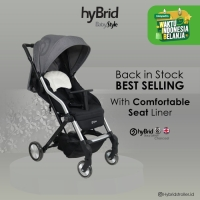 Hybrid Caby Stacy Stroller Charcoal + Seat Liner / Kereta Dorong Bayi