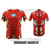 Baju Ironman Mark 46 Dewasa Kaos Superhero Full Printing 3D #FPS-17