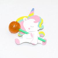 50Pcs / Pack Permen Lolipop Unicorn untuk Dekorasi Pesta Ulang Tahun
