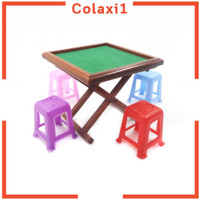 1/12 Scale Dollhouse Accessories MahJong Set Table Stools Game