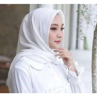 Hijab Segi Empat Jilbab Segi Empat Kerudung Segi Empat Polos - Putih p