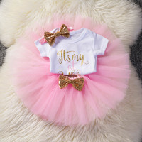 New Born Baby Clothes Girl 1 Year Birthday Dress 3 Pcs Outfits Int