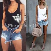 Kaos T-Shirt Tanpa Lengan Ukuran S-XXL untuk Wanita