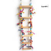 TM Colorful Parrot Pet Wood Swing Lr Climbing Biting Toy Cage