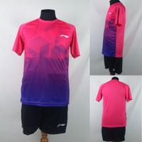 Setelan Baju/Kaos Bulu Tangkis/Badminton Dri-Fit Print Lining L148 Mag