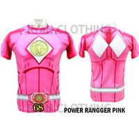 Baju Power Ranger Pink Dewasa Kaos Anime Full Printing 3D #FPS-68