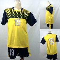 Setelan Baju/Kaos Sepak Bola/Futsal Team/Tim Anak Polkadot Kuning