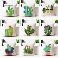 ✌ Sarung Bantal Sofa Motif Kaktus Bahan Linen Nyaman untuk