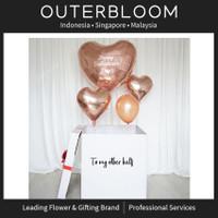 Balon box surprise -Rose Gold Jumbo Heart Mega Floatbox