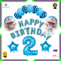 Paket Dekorasi Balon Ulang Tahun Happy Birthday Tema Doraemon 03