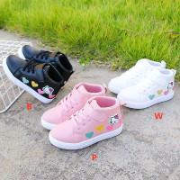 AN611 Sepatu Anak Boot Motif Print 4 Hati Hello Kitty Lucu Murah Trend