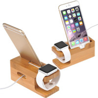 Feggy Bamboo Wood Charging Station Holder For Apple Watc