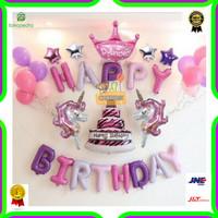 Paket Dekorasi Balon Ulang Tahun / Happy Birthday Pegasus / Unicorn 03