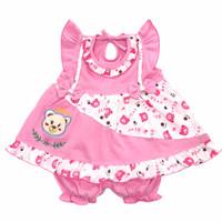 Baju Setelan Dress Bayi Perempuan Katun 3-6 Bulan Bordir Queen Bear