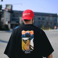 Kaos T-Shirt Pria Lengan Pendek Dengan Gambar Lukisan Graffiti Dan