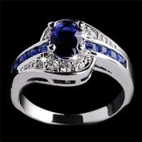 Cincin Batu Safir Biru Hiasan Kristal Emas Putih Mura QQsx