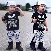 Setelan Kaos T-Shirt Bayi Laki-laki Lengan Panjang Gambar Tengkorak