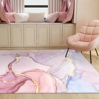 Karpet Desain Lukisan Cat Air Warna Pink Emas Ungu Untuk Kamar Tidur