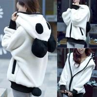 Jaket Hoodie Bahan Fleece Plush Desain Telinga Panda dengan