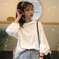 Kaos T-shirt Wanita Lengan Panjang Warna Putih Untuk Musim Gugur