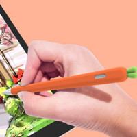 Case Pensil Bahan Silikon Lembut Bentuk Wortel Warna Putih Untuk