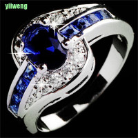 Yw Cincin Lapis Emas Putih Hias Batu Safir Biru Ukuran 7 8 9 Untuk