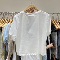 Kaos T-shirt Wanita Lengan Pendek Dengan Kerah Bulat Dan Bahan Tipis