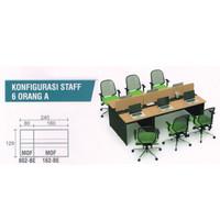 Meja Kerja Staff Kantor Workstation Partisi Sekat 6 Orang Panjang 240