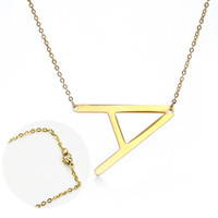 Kalung Rantai Bandul Huruf Bahan Stainless Steel Warna Emas untuk