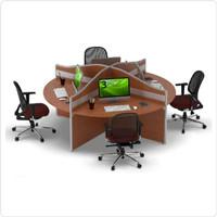 Meja Tulis Kerja Staff Kantor Workstation Bulat 4 Orang Partisi