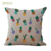 Sarung Bantal Sofa Bentuk Kotak Dengan Motif Print Kaktus Untuk