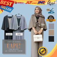Baju wanita muslimah jumpsuit playsuit cape overall murah terbaru - grey