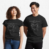Kaos Black Hawk helicopter outline graphic (white) 99363 T Shirt