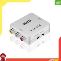 Adapter Converter Mini VGA to AV RCA dengan Jack Audio 3.5mm untuk PC