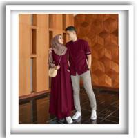 Emon Set Baju Couple Pria Wanita Gamis Kmeja KoKo Sarimbit Suami Istri