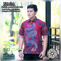 Baju Hem Batik Tulis Pria Motif Naga Merah