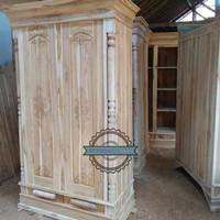 Lemari pakaian jati 2 pintu MENTAHAN Almari Baju Kayu Jati