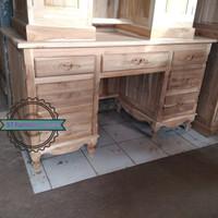 Meja kerja/ meja kantor ukir Jepara bahan kayu jati mentahan Murah