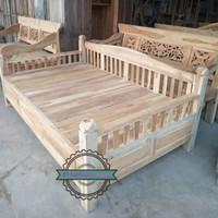 Bale bale daybed besar jati - Kursi tempat tidur mentahan 200x160cm