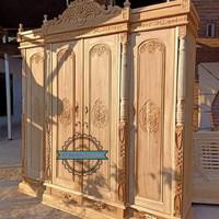 Lemari pakaian ukir - Almari 4 pintu full kayu jati mentahan Murah