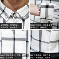 Semi hitam dan putih kotak-kotak pria kemeja lengan panjang plus