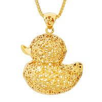 kalung rantai bandul bebek besar hollow bahan kuningan lapis emas