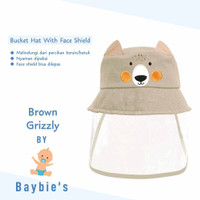 Baybie's Topi Bucket Face Shield Baby / Topi Motif Brown Grizzly